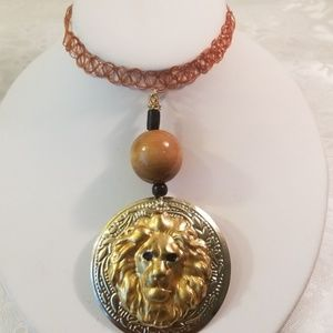 Brown simulated tattoo Roaring lion Choker